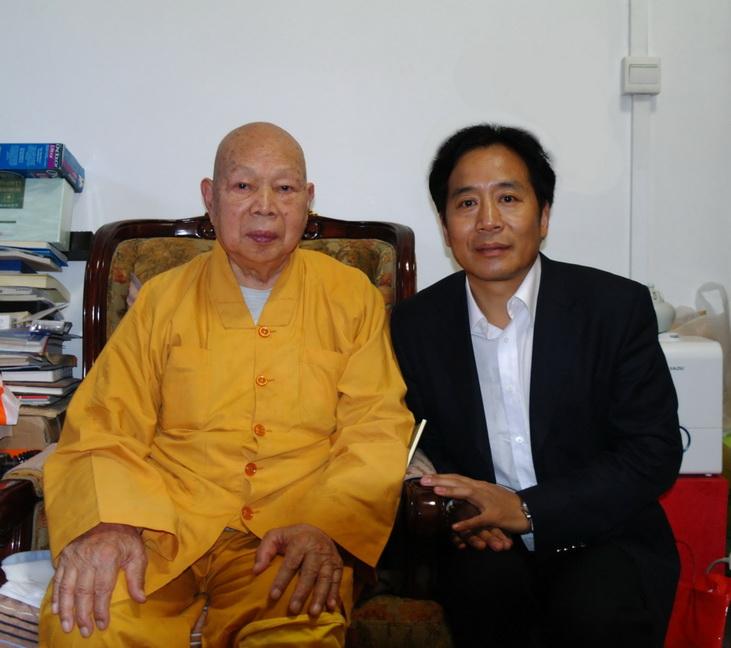 邱天道董事长专程拜见了前中国佛教协会会长一诚长老